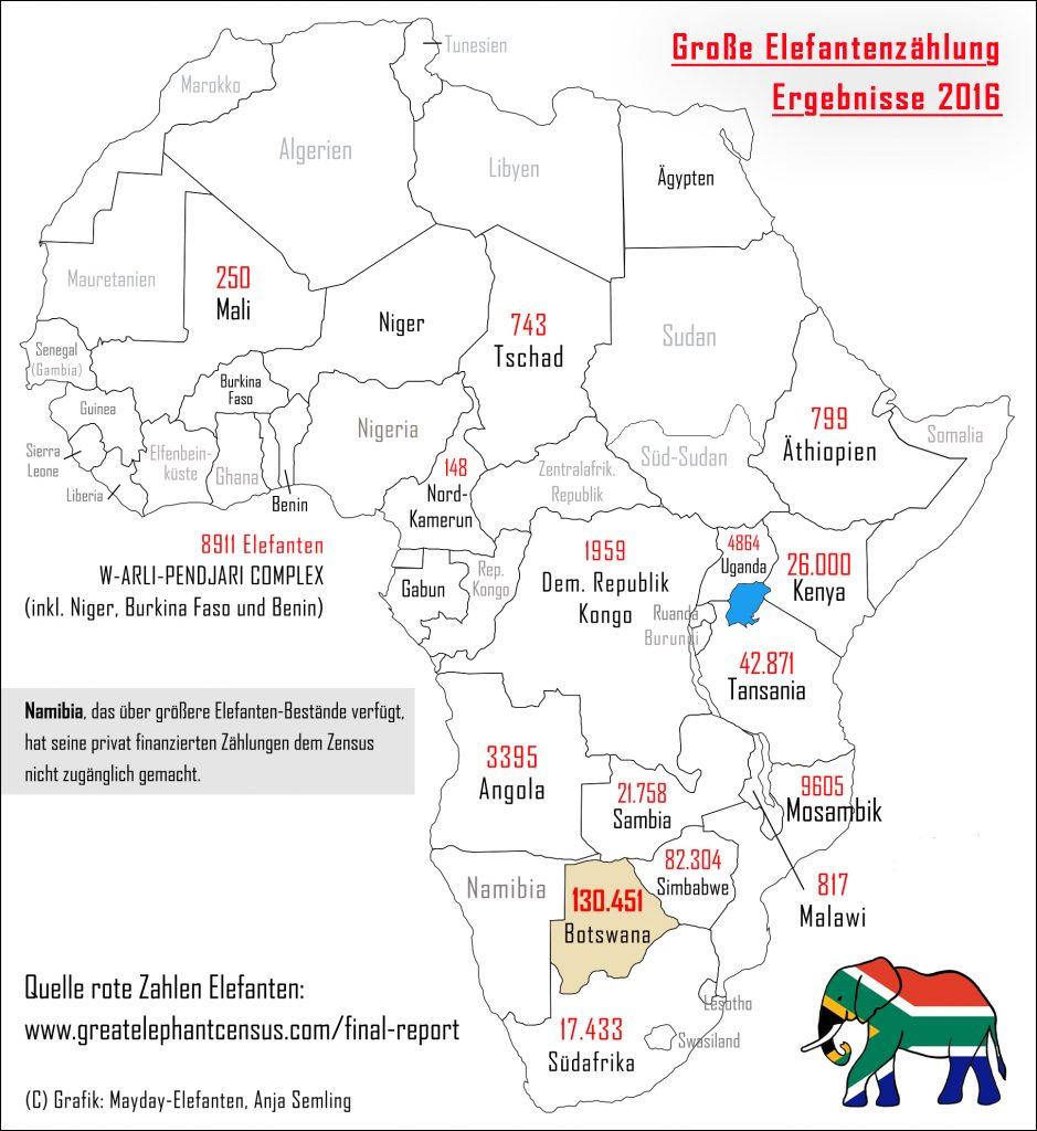 Karte Elefantenzählung